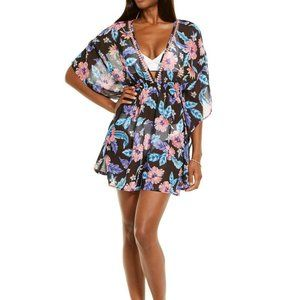 Miken TROPICAL FLORAL Print Smocked Waist Cover-up